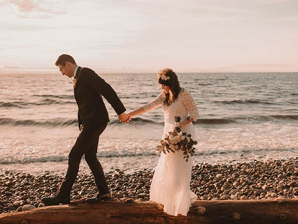 Gibsons Vintage Elopement on the beach at sunset with Mia and Ben